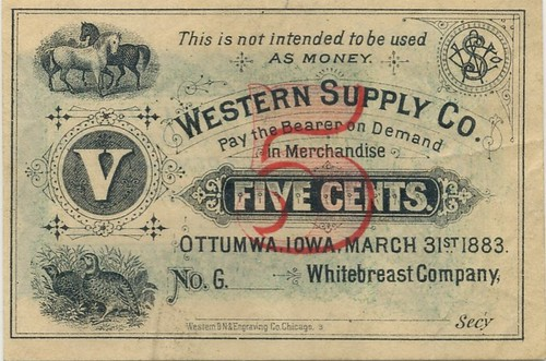 Western Supply Company Five Cents face