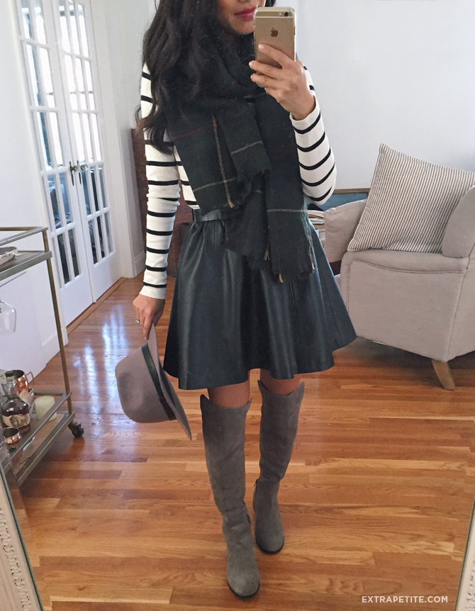 fall outfit leather skirt scarf boots