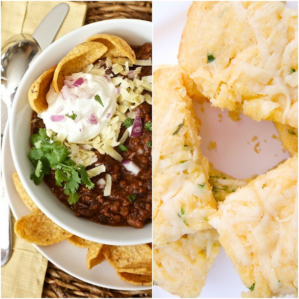 Black Bean and Beef Chili and Jalapeno Cheddar Cornbread