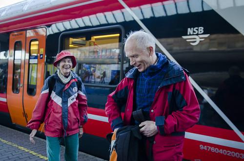 Linda Rundquist Parr og Finn Bjørnar Lund i Besteforeldrenes klimaaksjon klar for klimatog til Paris