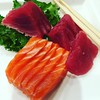 My perfect #comfortfood: #sashimi please!  Always did it for me even way back in the early days. #EarlyDinner (with #lunch) #InTheNeighborhood at #RiverJapaneseCuisine.  I can always #eatenoughSashimi to make it #worthit. #metimw #diningAlone #Japanesefoo