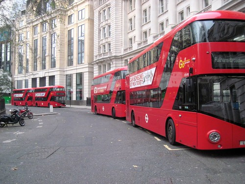 London Buses in Finsbury Circus