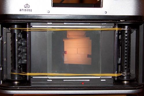 Оптическая скамья для настройки фототехники: изображение мишени на матовом стекле в плоскости пленки