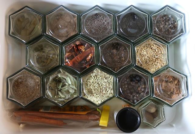 Spices in hexagonal jars