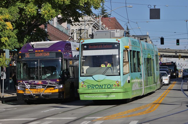 Trolleybus and streetcar on Jackson Street