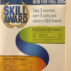Citrus college offers a skill award in real estate and finance. Take 3 classes (9units) and get something to add value to your resume and transcripts and for transfer