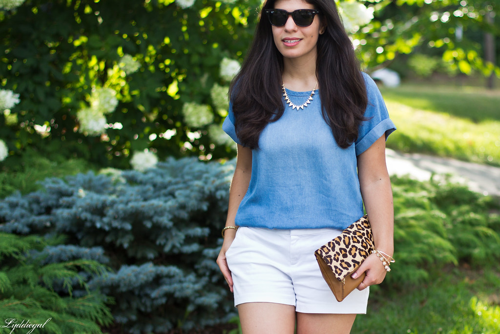 chambray tee shirt, white shorts, leopard clutch-1.jpg