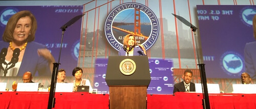 Congresswoman Pelosi speaks to the U.S. Conference of Mayors in San Francisco