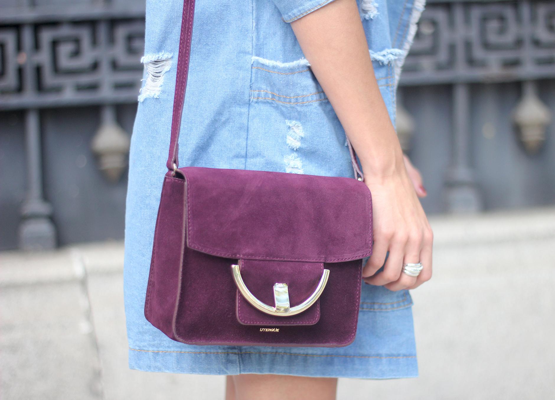 Denim Coat Stripes Skirt White Blouse Burgundy Uterqüe Bag Outfit15