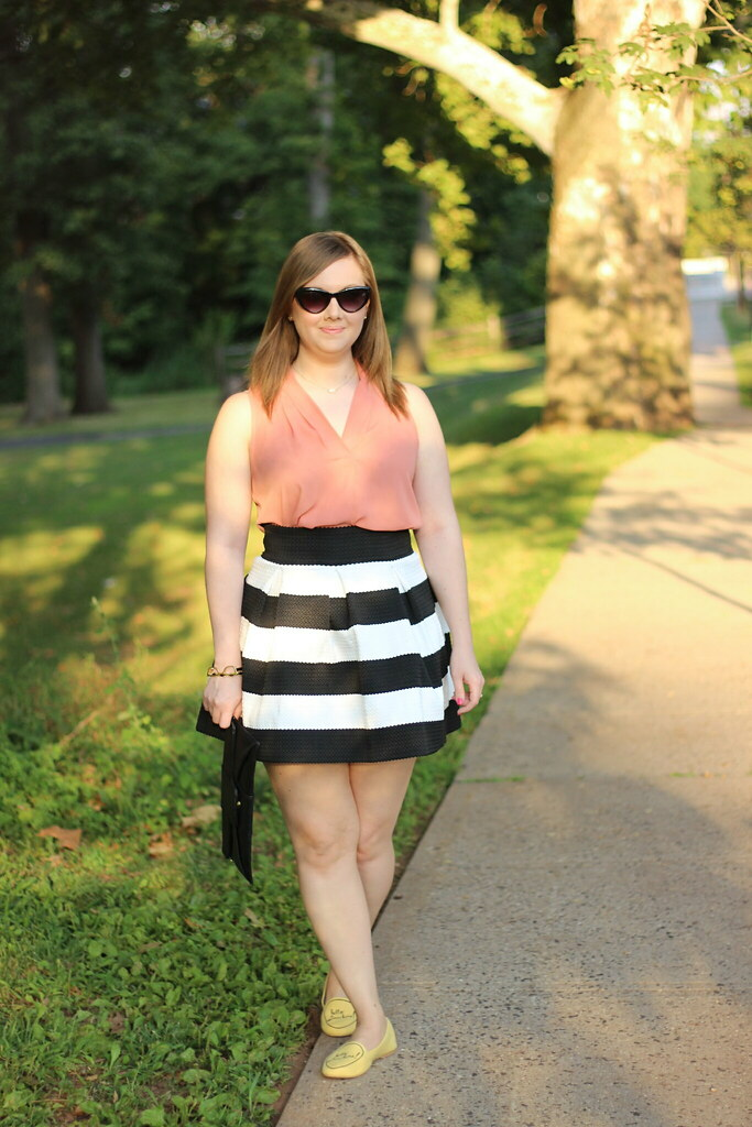 Striped Cupcake Skirt and Hello Sunshine Modcloth loafers