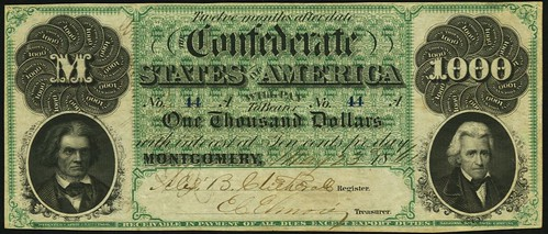 Confederate States of America - T1 1861 $1000 Montgomery Issue