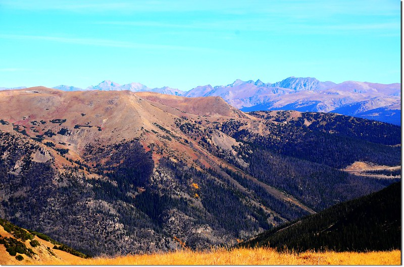 View north onto Rocky Mountains from the saddle between Woods & Parnassus