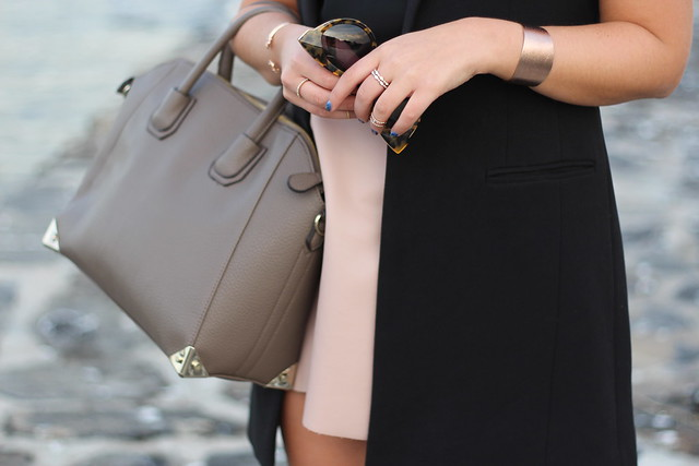 Blush Leather Skirt | Long Black Vest | By the Ocean