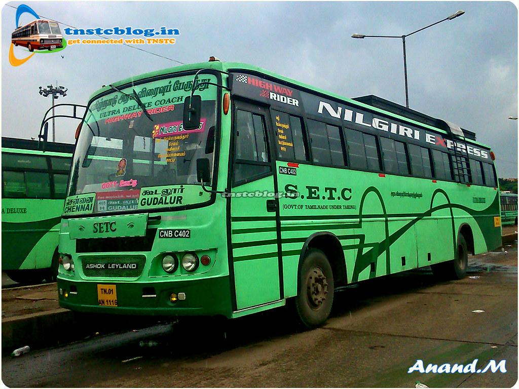 TN-01AN-1116 CNB C402 of Chennai Central Depot Route 465H UD Chennai - Gudalur via Salem, Avinashi, Mettupalayam, Ooty