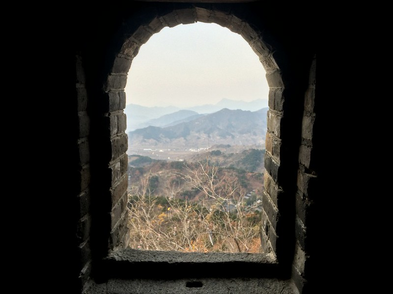 View from the window in one of the towers on the Great Wall.