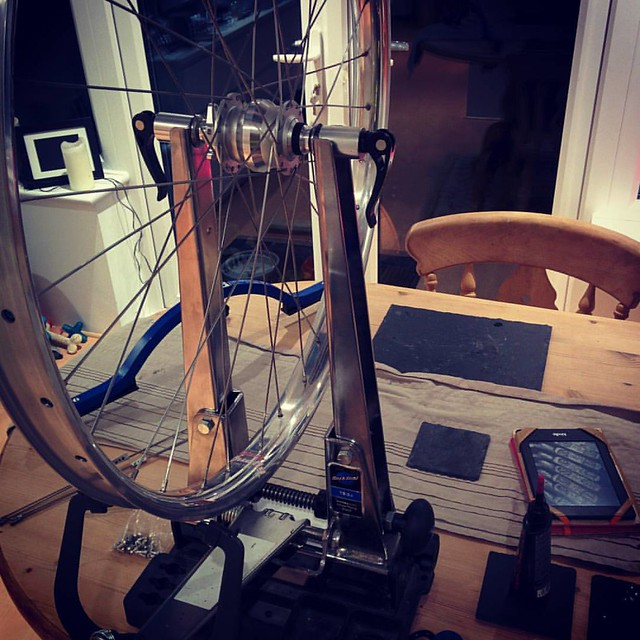 Yes! Doing my own wheels at last after sorting everyone else out. Can't wait to get these puppies on the impending @traversbikes rusty (hint hint, when will it be here?) #spdynamo #dynamo #velocityrims #dually #29+ #sapim #travers #rusty #titanium #TourDi