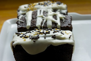 Black chocolate-espresso cakes with single malt glaze