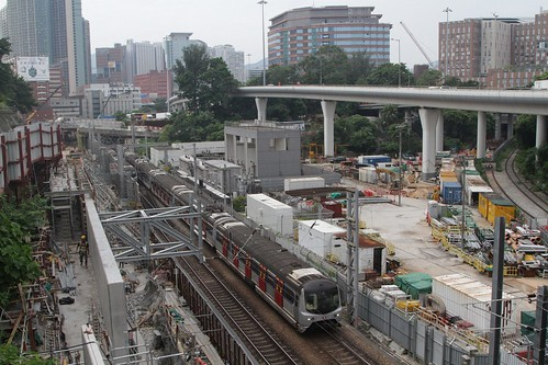 MTR East Rail train passes Shatin to Central Link works at Hung Hom station