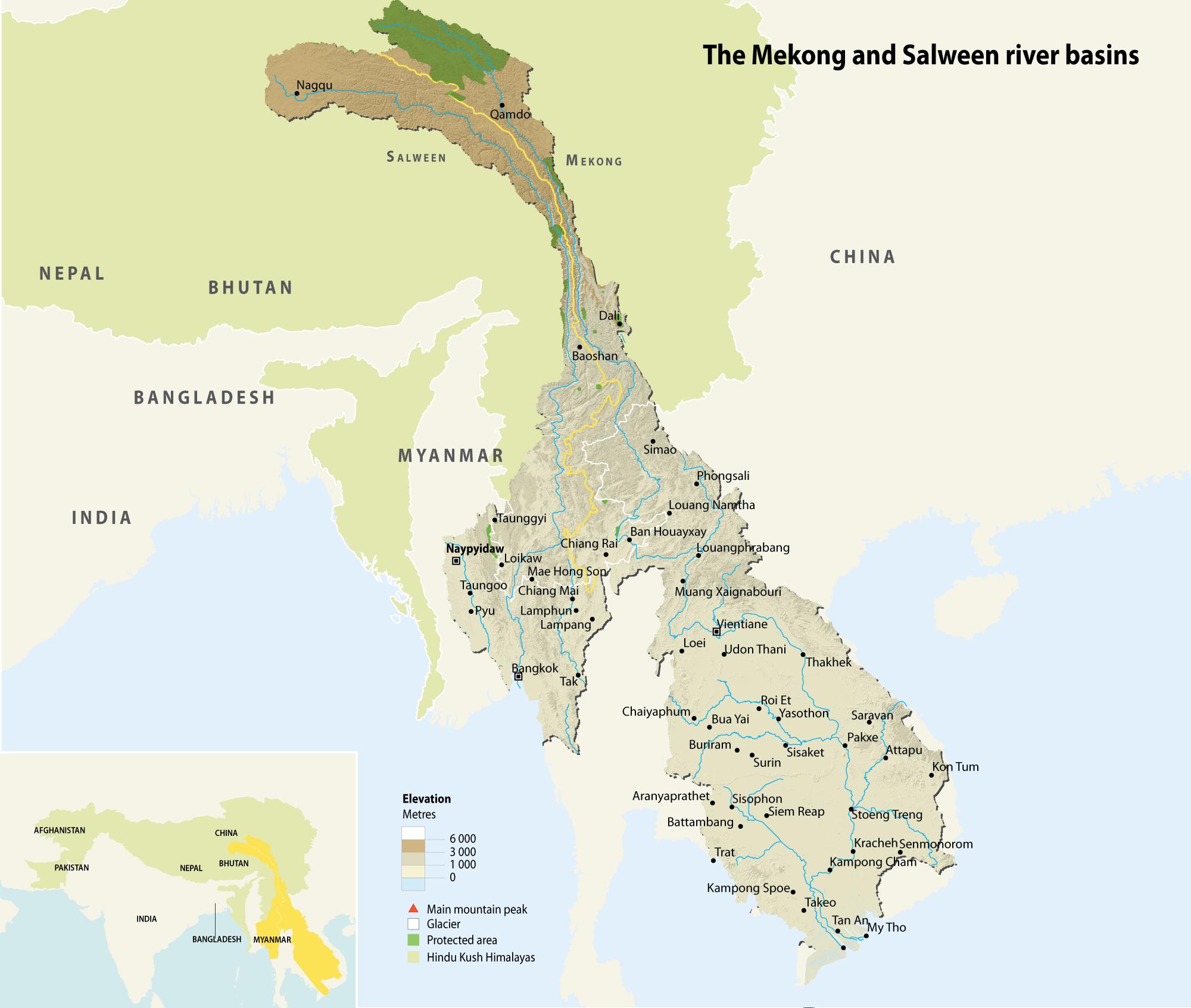 The Mekong And Salween River Basins GRIDArendal - River basins of the world