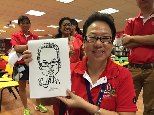 Caricature live sketching for Bishan Park Secondary School Teachers' Day 2015