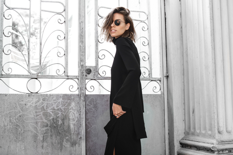 Ellery high neck top, all black street style, round sunglasses, modern legacy, fashion blog, editorial (1 of 1)