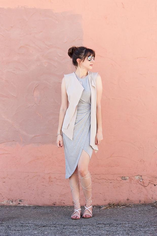 Grey Midi Dress, Asymmetrical Dress, Neutral Vest, Lace Up Sandals