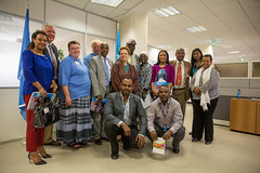 Group Photo: The international Rotarian polio advocacy group along with the Ethiopia National PolioPlus Committee Chair and Vice Chair, visit the UNICEF offices