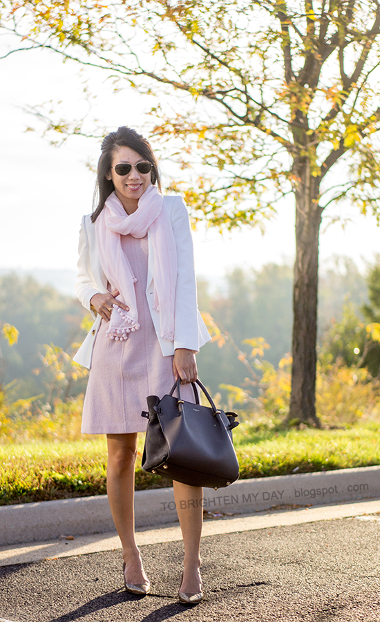 pink scarf, white blazer, pink wool dress, glitter pumps
