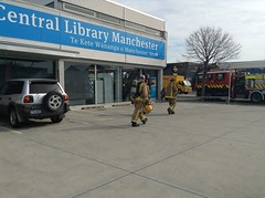 Firefighters leaving Central Library Manchester