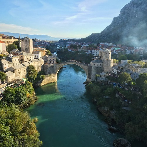 old travel bridge autumn sunset fall apple architecture river square landscape golden october view mostar bosnia mosque aerial most hour herzegovina mehmet stari pasha iphone 2015 koski 6s iphoneonly