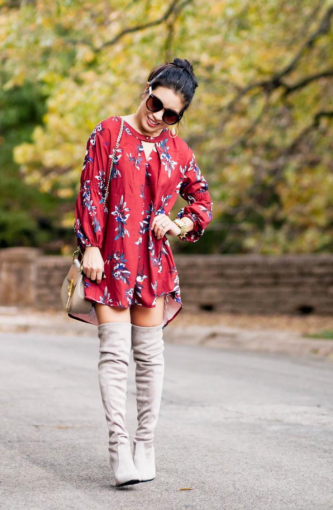 cute & little blog | petite fashion blog | oxblood flowy floral dress, stuart weitzman highland otk boots, chloe drew bag | fall outfit