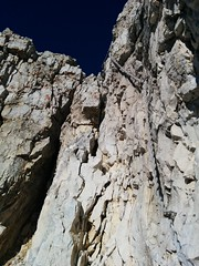 Gesicherter Kamin Aufstieg zum Birkenkofel-Gipfel