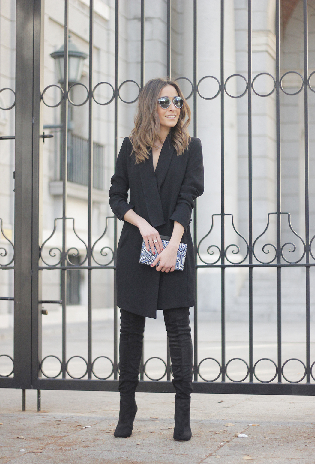 BLack Tuxedo dress black over the knee boots dior so real sunnies bulgary jewellery09