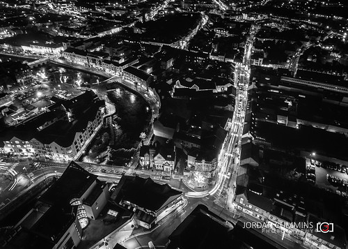 night afterdark balckwhite sligo longexposure town above drone jcphoto18 bluehour dark cartrails sky flight bw citylights jordancumminsphotography lightsaber