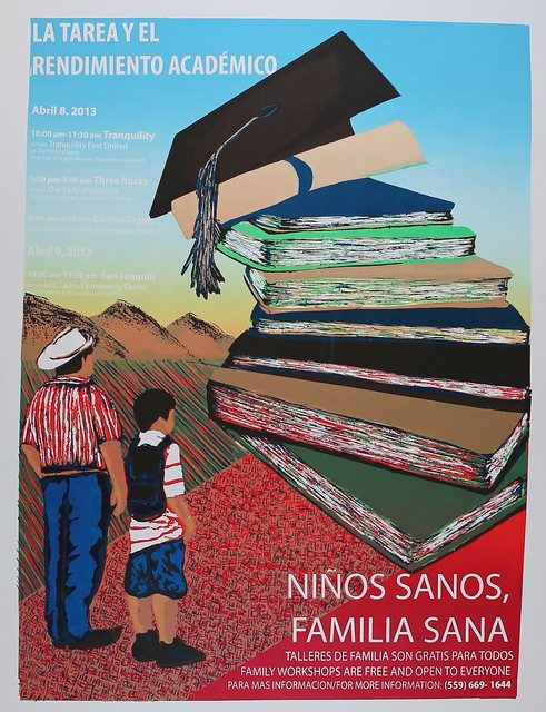 The Ninos Sanos, Familia Sana program uses NIFA-administered grant funds to teach a new culture of healthy living to residents of Firebaugh, Calif.  (Poster courtesy of Elizabeth Bishay)