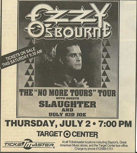 07/02/92 Ozzy Osbourne/ Slaughter/ Ugly Kid Joe @ Target Center, Minneapolis, MN