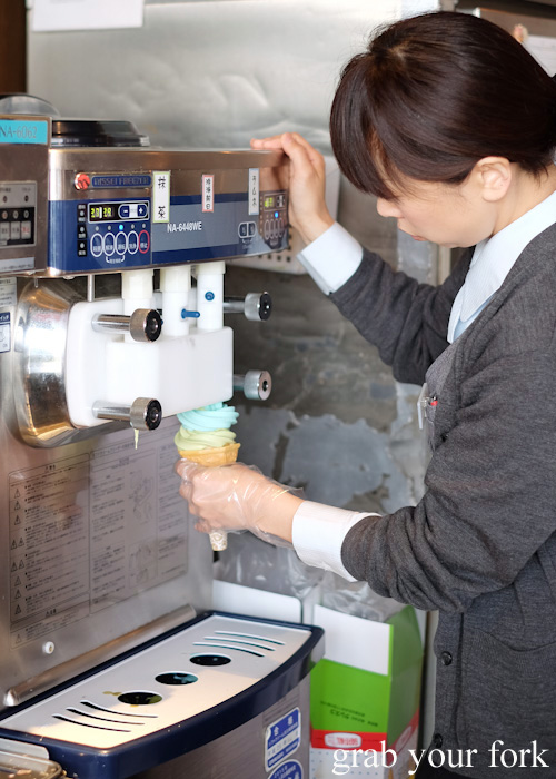 Making our soft serve at Kitaichi Glass No. 3 Terrace in Otaru, Hokkaido