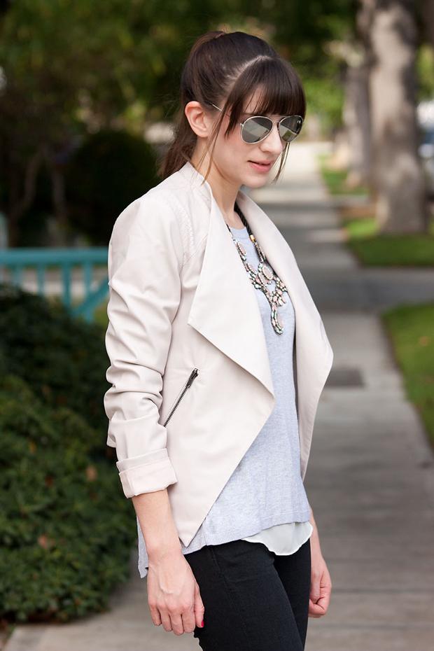 Asymmetrical Faux Leather Jacket, Black Denim, Grey Sweater