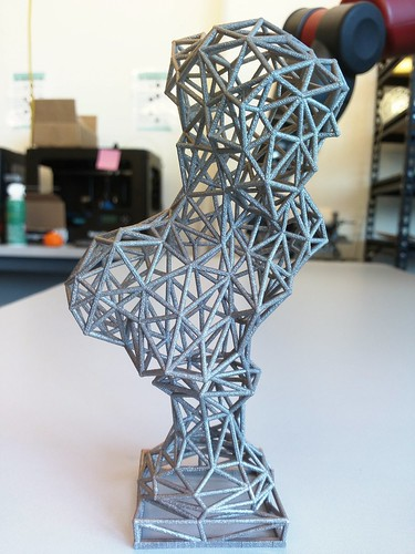 Bust of Sappho, wireframe stainless steel
