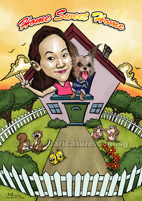 lady with dog digital caricatures in house (watermarked)