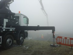 pumping concrete into the fog, Ovenden Moor Wind Farm