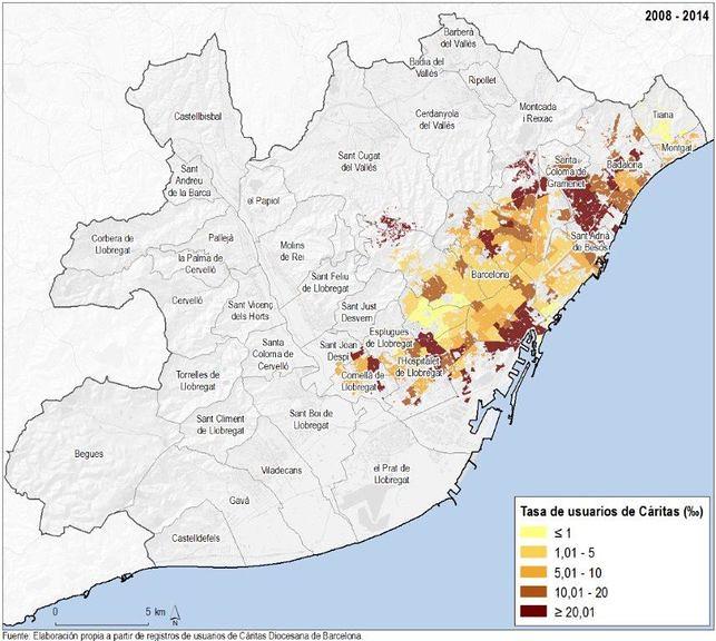 Taxa d'usuaris de Càritas segons àrea d'acció. Àrea metropolitana de Barcelona, 2008-2014