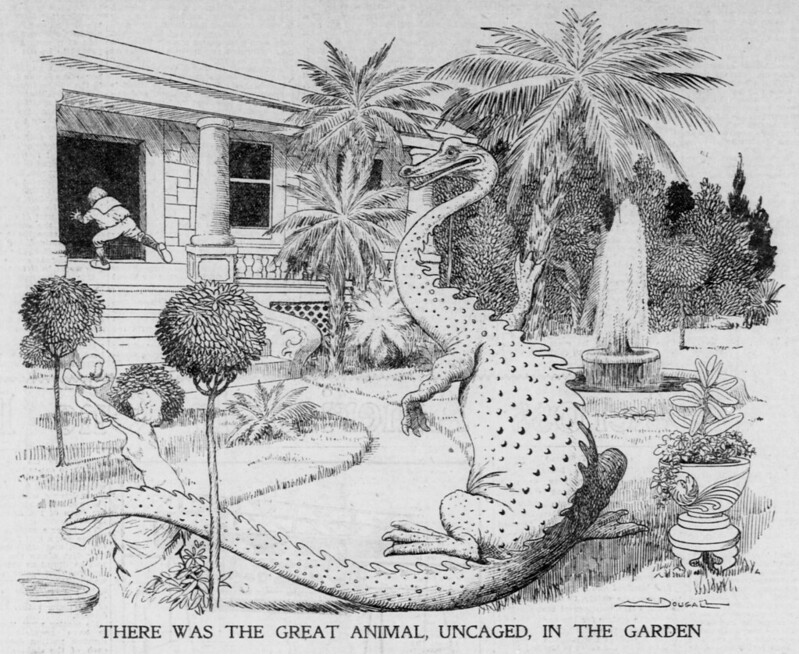 Walt McDougall - The Salt Lake herald., March 20, 1904, Last Edition, There Was The Great Animal, Uncaged, In The Garden