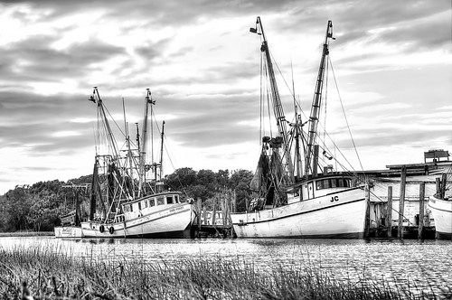 monochrome clouds creek docks river landscape boats bay blackwhite dock coastal nets shrimping shrimpboat shrimpboats explored
