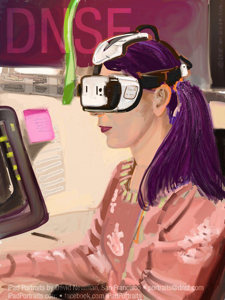 iPad Portrait of Theresa Duringer with Gear VR headset