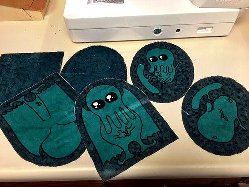 Sewing together Cthulhu pillow