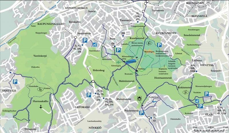 Espoon keskuspuiston kartta
