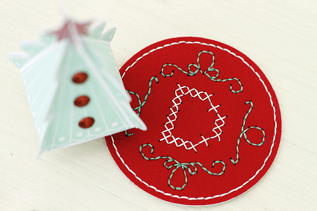 Monogrammed tree skirt doubles as a coaster, Papertrey Ink