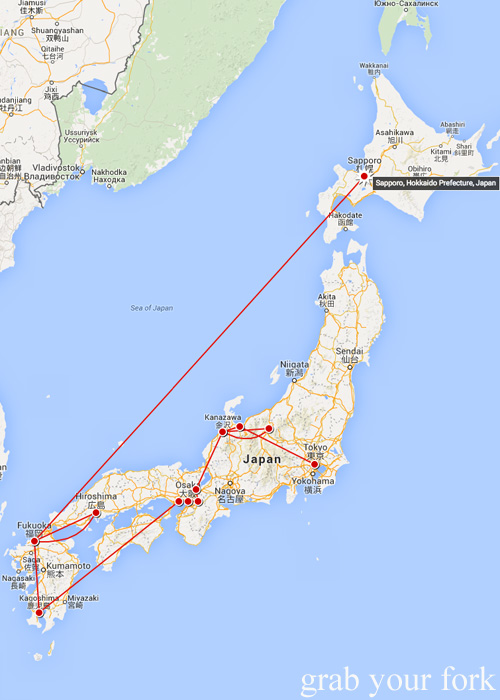 Our map of travels around Japan from Tokyo to Sapporo