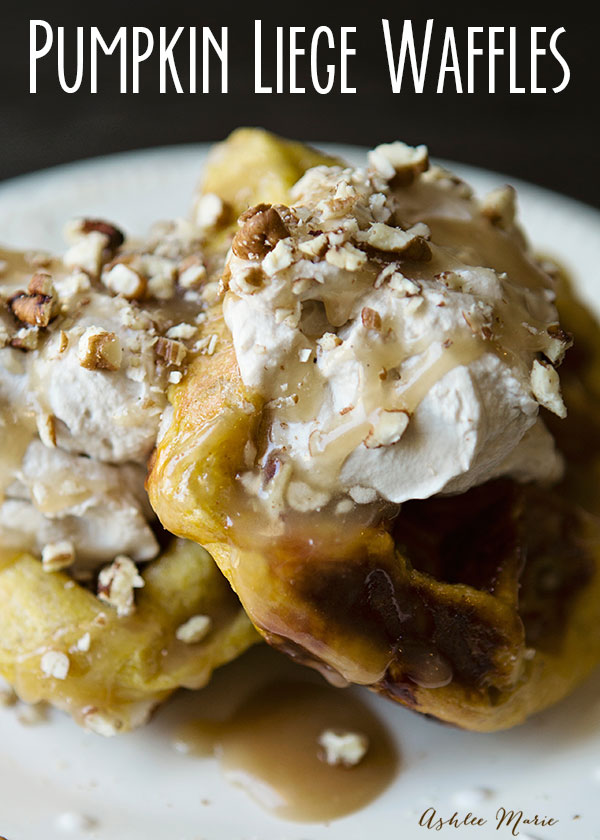 This pumpkin twist on traditional liege waffles is perfect for fall, slightly spiced it's perfect topped with maple whipped cream, caramel sauce and toasted pecans